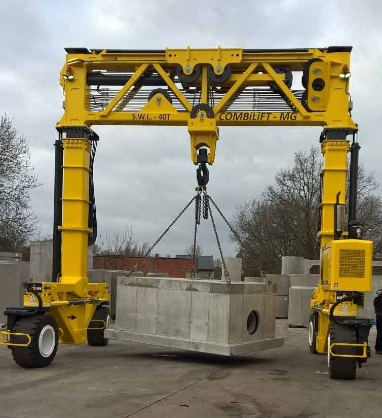 Combilift Mobile Gantry toepassing beton Mabo Lifting